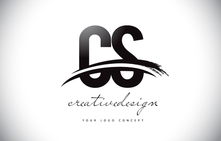 CS C S Letter Logo Design with Swoosh and Black Brush Stroke. Modern Creative Brush Stroke Letters Vector Logo