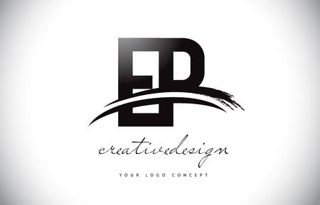 EP E P Letter Logo Design with Swoosh and Black Brush Stroke. Modern Creative Brush Stroke Letters Vector Logo Illustration