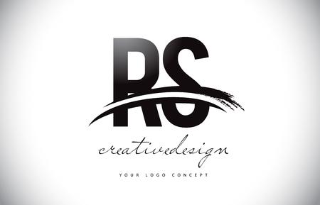 RS R S Letter Logo Design with Swoosh and Black Brush Stroke. Modern Creative Brush Stroke Letters Vector Logo Illustration