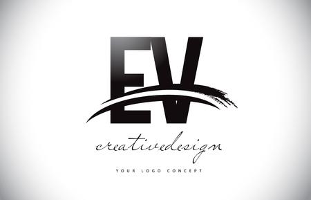 EV E V Letter Logo Design with Swoosh and Black Brush Stroke. Modern Creative Brush Stroke Letters Vector Logo