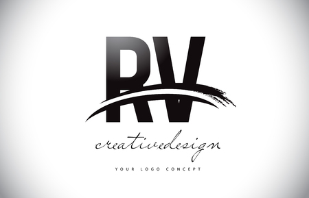 RV R V Letter Logo Design with Swoosh and Black Brush Stroke. Modern Creative Brush Stroke Letters Vector Logo
