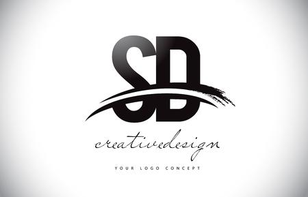 SD S D Letter Logo Design with Swoosh and Black Brush Stroke. Modern Creative Brush Stroke Letters Vector Logo Illustration