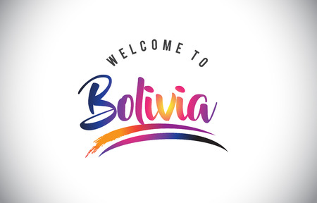 Bolivia  Welcome To Message in Purple Vibrant Modern Colors Vector Illustration. Иллюстрация