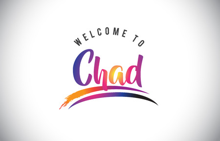 Chad Welcome To Message in Purple Vibrant Modern Colors Vector Illustration.