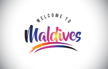 Maldives Welcome To Message in Purple Vibrant Modern Colors Vector Illustration.