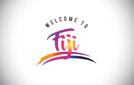 Fiji Welcome To Message in Purple Vibrant Modern Colors Vector Illustration. Illustration
