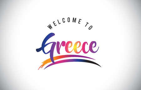 ce88b758d86 Greece Welcome To Message in Purple Vibrant Modern Colors Vector  Illustration. Illustration