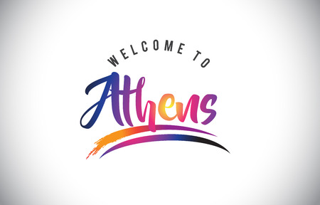 Athens Welcome To Message in Purple Vibrant Modern Colors Vector Illustration.