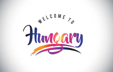 Hungary Welcome To Message in Purple Vibrant Modern Colors Vector Illustration.