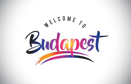 Budapest Welcome To Message in Purple Vibrant Modern Colors Vector Illustration. Stock Illustratie