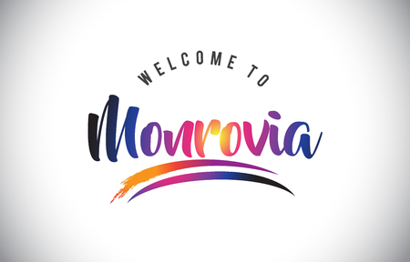 Monrovia Welcome To Message in Purple Vibrant Modern Colors Vector Illustration.