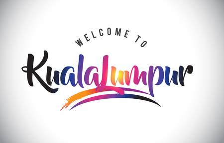 KualaLumpur Welcome To Message in Purple Vibrant Modern Colors Vector Illustration.