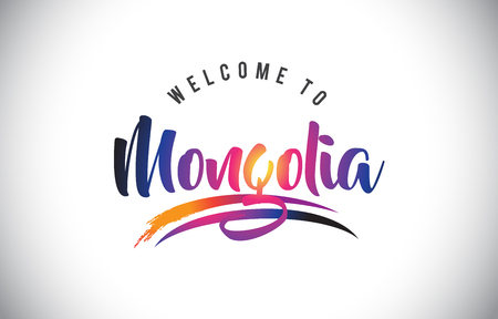 Mongolia Welcome To Message in Purple Vibrant Modern Colors Vector Illustration.