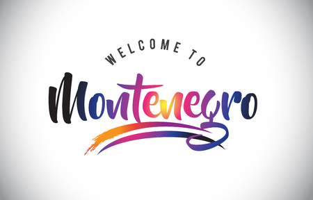 Montenegro Welcome To Message in Purple Vibrant Modern Colors Vector Illustration.