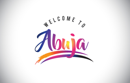 Abuja Welcome To Message in Purple Vibrant Modern Colors Vector Illustration.