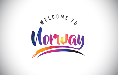 Norway Welcome To Message in Purple Vibrant Modern Colors Vector Illustration. Illustration