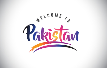 Pakistan Welcome To Message in Purple Vibrant Modern Colors Vector Illustration.