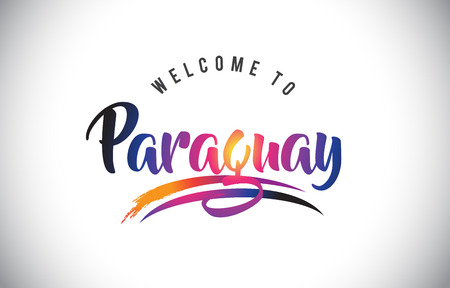 Paraguay Welcome To Message in Purple Vibrant Modern Colors Vector Illustration.
