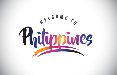 Philippines Welcome To Message in Purple Vibrant Modern Colors Vector Illustration.