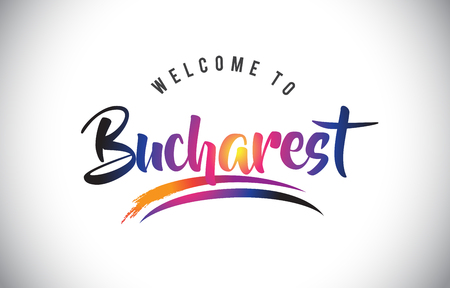 Bucharest Welcome To Message in Purple Vibrant Modern Colors Vector Illustration.