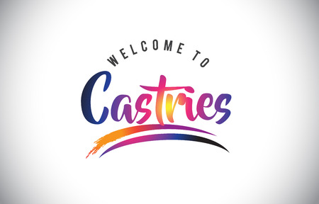 Castries Welcome To Message in Purple Vibrant Modern Colors Vector Illustration.