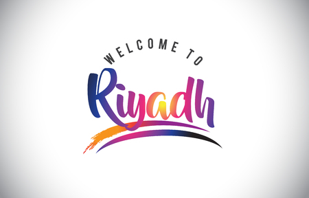 Riyadh Welcome To Message in Purple Vibrant Modern Colors Vector Illustration.