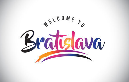 Bratislava Welcome To Message in Purple Vibrant Modern Colors Vector Illustration. Illustration