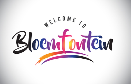Bloemfontein Welcome To Message in Purple Vibrant Modern Colors Vector Illustration.