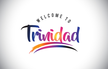 Trinidad Welcome To Message in Purple Vibrant Modern Colors Vector Illustration.