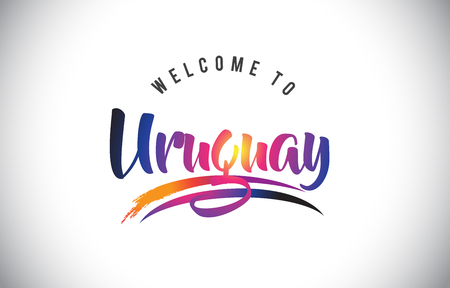 Uruguay Welcome To Message in Purple Vibrant Modern Colors Vector Illustration.