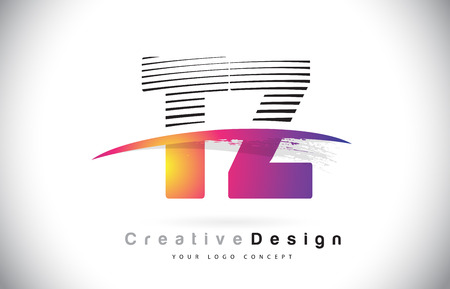 TZ T Z Letter Logo Design With Creative Lines and Swosh in Purple Brush Color Vector Illustration. Logó
