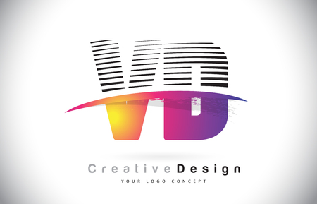 VD V D Letter Logo Design With Creative Lines and Swosh in Purple Brush Color Vector Illustration.