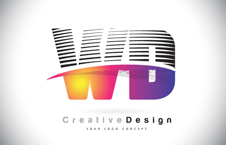 WD W D Letter Logo Design With Creative Lines and Swosh in Purple Brush Color Vector Illustration.