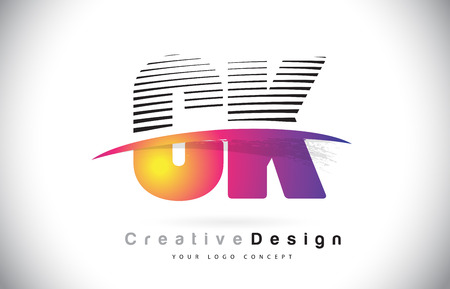 CK C K Letter Logo Design With Creative Lines and Swosh in Purple Brush Color Vector Illustration. Vettoriali