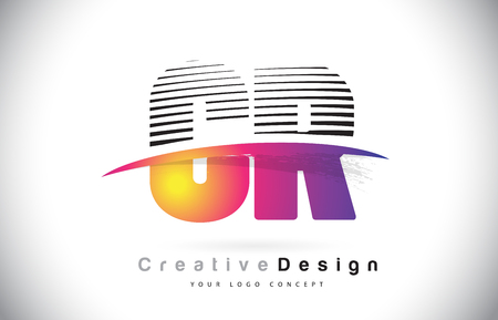CR C R Letter Logo Design With Creative Lines and Swosh in Purple Brush Color Vector Illustration. Illustration
