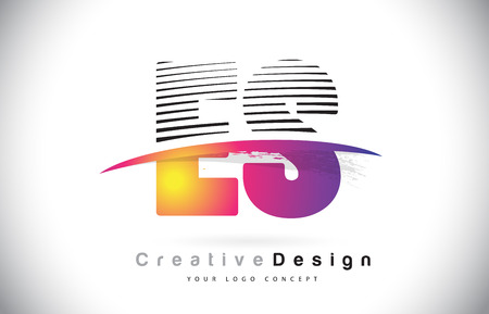 ES E S Letter Logo Design With Creative Lines and Swosh in Purple Brush Color Vector Illustration.