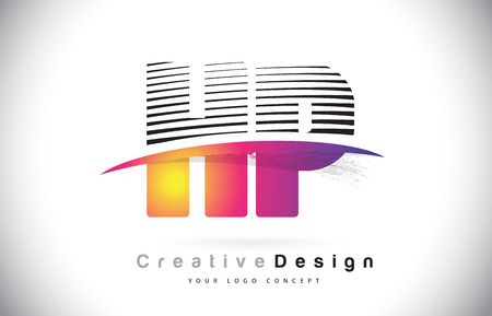 HP H P Letter Logo Design With Creative Lines and Swosh in Purple Brush Color Vector Illustration. Illustration
