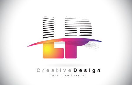 LP L P Letter Logo Design With Creative Lines and Swosh in Purple Brush Color Vector Illustration.