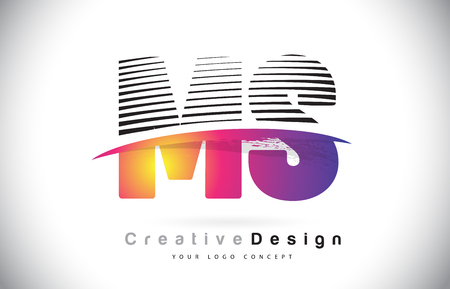 MS M S Letter Logo Design With Creative Lines and Swosh in Purple Brush Color Vector Illustration. Illustration