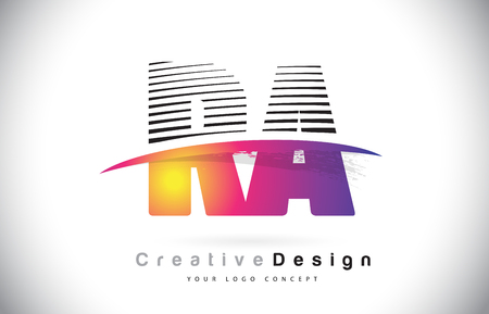 RA R A Letter Logo Design With Creative Lines and Swosh in Purple Brush Color Vector Illustration.