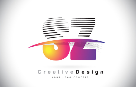 SZ S Z Letter Logo Design With Creative Lines and Swosh in Purple Brush Color Vector Illustration. Logó