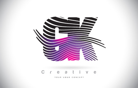 CK C K Zebra Texture Letter Logo Design With Creative Lines and Swosh in Purple Magenta Color Vector.