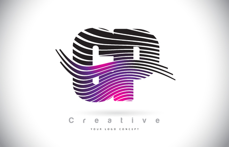 CP C P Zebra Texture Letter Logo Design With Creative Lines and Swosh in Purple Magenta Color Vector.