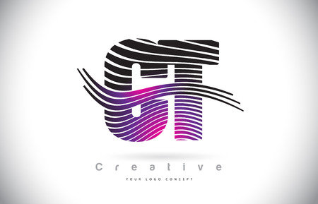 CT C T Zebra Texture Letter Logo Design With Creative Lines and Swosh in Purple Magenta Color Vector.