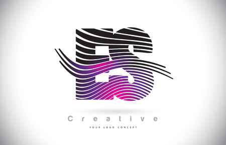 ES E S Zebra Texture Letter Logo Design With Creative Lines and Swosh in Purple Magenta Color Vector.