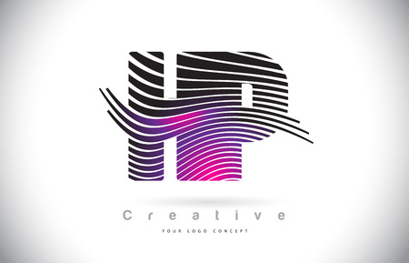 HP H P Zebra Texture Letter Logo Design With Creative Lines and Swosh in Purple Magenta Color Vector.