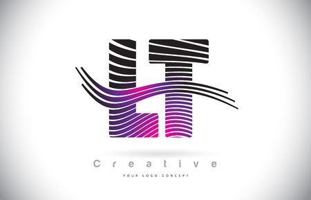 LT L T Zebra Texture Letter Logo Design With Creative Lines and Swosh in Purple Magenta Color Vector.