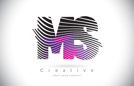 MS M S Zebra Texture Letter Logo Design With Creative Lines and Swosh in Purple Magenta Color Vector.