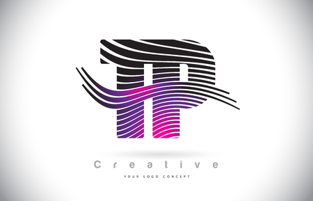 TP T P Zebra Texture Letter Logo Design With Creative Lines and Swosh in Purple Magenta Color Vector.