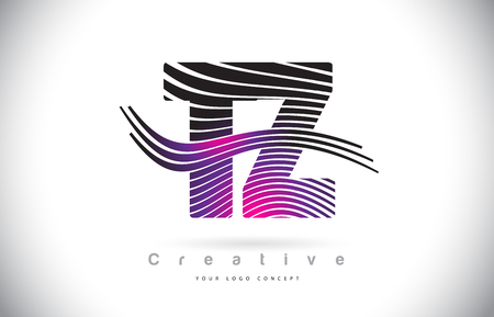 TZ T Z Zebra Texture Letter Logo Design With Creative Lines and Swosh in Purple Magenta Color Vector.